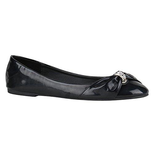 stiefelparadies Klassische Damen Ballerinas Ballerina Gummizug Basic Flats Slipper Leder-Optik Übergrößen Gr. 41-44 Schuhe 144234 Schwarz Lack 42 Flandell