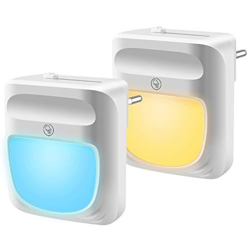 U UZOPI Nachtlicht, Led Nachtlicht Lichtsensor, Dimmbar Steckdose Dämmerungssensor Kleines, 2 Stück Automatisch Energie sparen Geeignet für mehrere Gelegenheiten Kinderzimmer, Schlafzimmer, Warmweiß