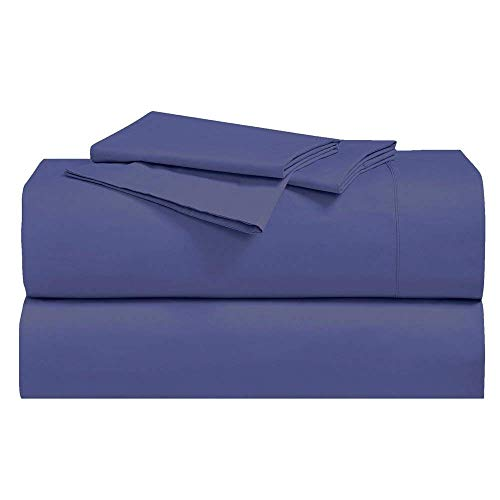 Royal Hotel Abripedic Crispy Percale Sheets, 300-Thread-Count, 4PC Solid Sheet Set, 100% Cotton, Super Deep Pocket, King, Periwinkle