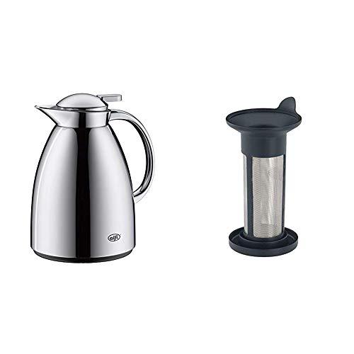 alfi Tekannen-Set, Isolierkanne Alegro, Edelstahl poliert mit Glaseinsatz 1,0 l + Teefilter Aroma Compact, 12 Stunden heiß, 24 Stunden kalt, Teedirektzubereitung in der Teekanne, BPA-Free