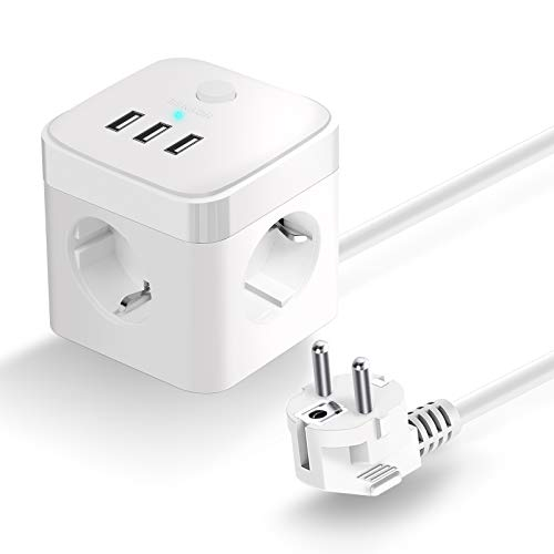 HOVNEE Cube Enchufe USB con 3 Puertos de USB y 3 Tomas Regleta Proteccion Sobretension Enchufe Alargador Multiple Carga para Samsung iPad iPhone Tablets - Cable 1.5 m (2500 W/10 A) (blanco)
