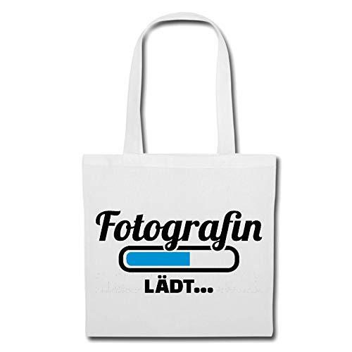 Tasche Umhängetasche Ladebalken FOTOGRAFIEN Loading LÄDT - DIGITALKAMERA - FOTOGRAF - FOTOSHOOTING - FOTOGRAFIEREN Einkaufstasche Schulbeutel Turnbeutel in Weiß