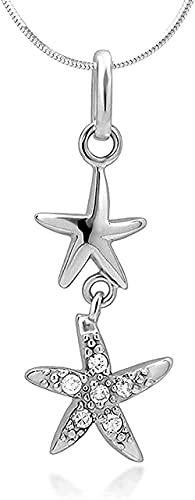 LKLFC Collar para Mujer Collar para Hombre Colgante Colgante Collar con Colgante Dos Estrellas Plata de Ley CZ Cubic Zirconia Cubic Zircony 18 Colgante Collar Regalo para niñas niños