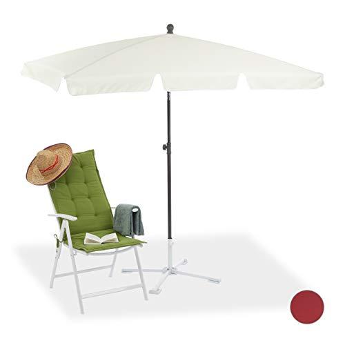 Relaxdays Sonnenschirm rechteckig, 200 x 120 cm Strandschirm, höhenverstellbarer Gartenschirm mit Kippfunktion, weiß