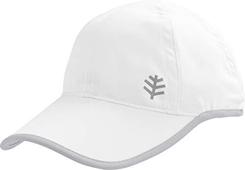 Coolibar UPF 50+ Men's Women's Lenny Sport Cap - Sun Protective (Large/X-Large- White/Silver)