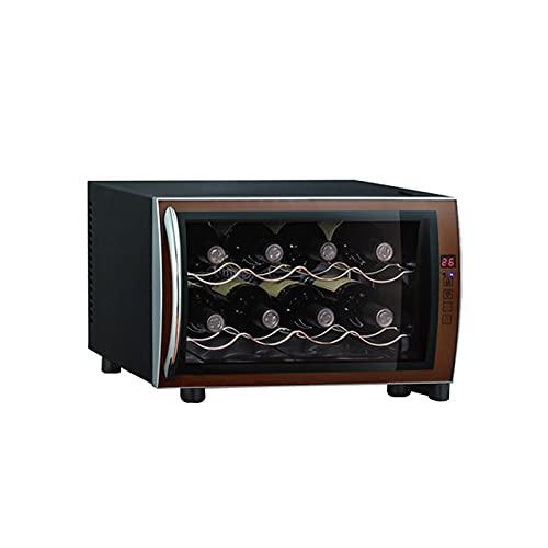 YCRD Vinoteca De 8 Botellas, 23 L, 70 W Luz Led, Display Digital, 2 Estantes, Doble Aislamiento, Zonas De Temperatura De 5-18 Grados, Baldas Acero Inoxidable, Ruido Bajo[30db]