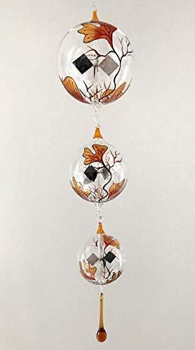 Lichtmühlen zum hängen - Kette 4-teilig, handbemalt Ginkgo