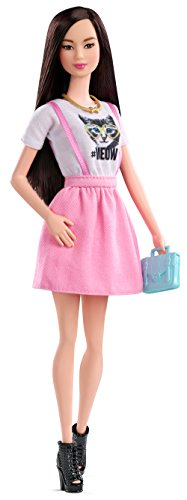 Barbie Fashionista Doll in Pink Dress with White Meow T-
