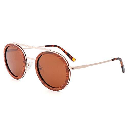 SWNN Sunglasses UV400 Marrón Gris Moda Gafas De Sol Polarizadas Gafas De Bambú Gafas De Sol De Marco De Metal De Madera (Color : Brown)