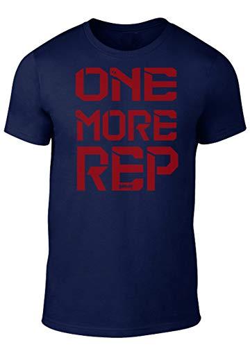 GO HEAVY Herren Regular Fit Trainingsshirt Kurzärmlig | Gym Fitness Sportshirt | One More Rep | Dunkelbau, Blau, L