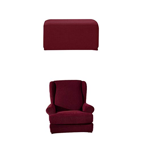 HomeDecTime Sesselhusse für Fernsehsessel Ohrensessel Husse Stretch Bezug Sesselbezug Sesselschutz + Hockerbezug - Weinrot