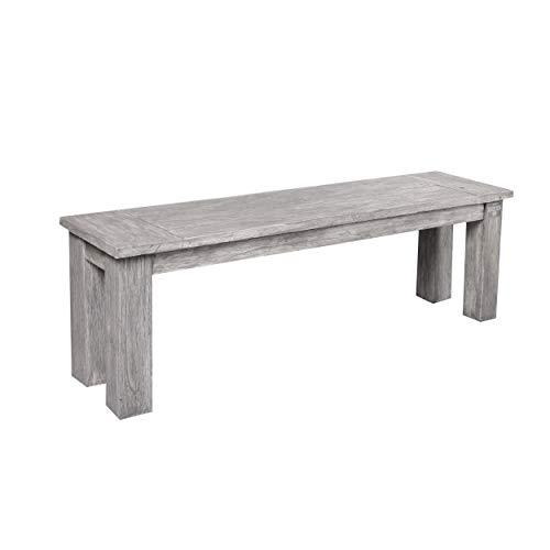 STRANDGUT07 - Loungebank teak, tuinbank, ca. 130×40 cm, grey wash