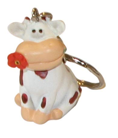 impexit - Llavero de vaca con diseño de flor de resina (3/4/2 cm)