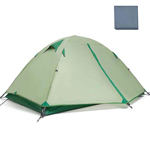 SPFAZJ TentUltralight Double Waterproof Tent Camping Nylon Silicone Outdoor Ultralight Aluminum Pole Portable 2 Person Outdoor Tent,Green