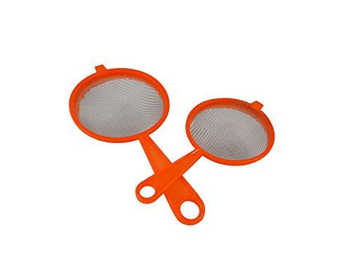 Pack 2 Colador Plástico Reforzado/Colador Cocina/Juego de Colador Plástico Reforzado Redondo Microperforado Pack 2 10CM Y 12CM(Naranja)