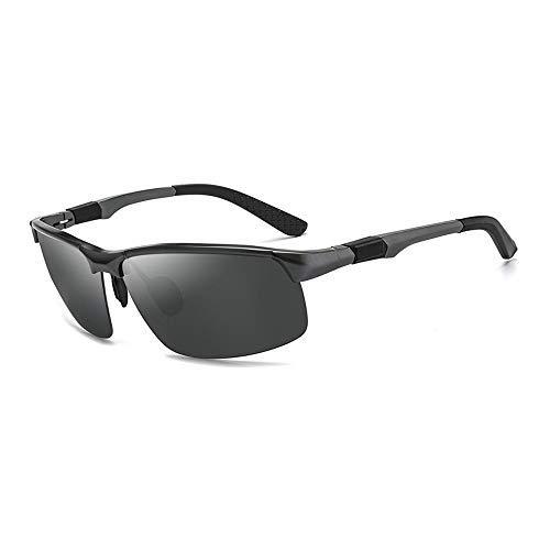 YEESEU Gafas de Sol del Deporte de los Hombres de magnesio y Aluminio Gafas de Sol polarizadas Conducción Pesca Gafas de Sol Gafas de Moda (Color: Gris Oscuro, tamaño: Libre) Ciclismo, Correr, Pesca,