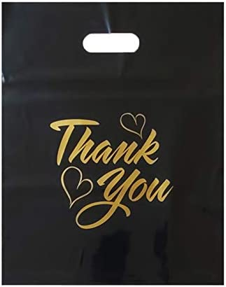 100 Pack 12x15 Extra Durable Black Thankyou Merchandise Bags Die Cut Handle Glossy Finish for product image