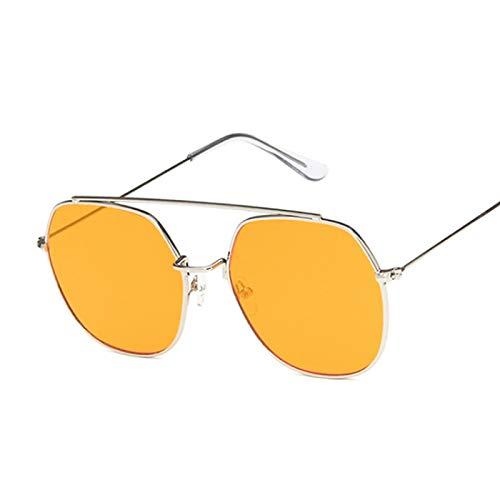 NJJX Gafas De Sol Cuadradas Rosas De Moda Para Mujer, Gafas De Sol Poligonales, Montura Metálica Para Mujer, Espejo Oceánico, Vintage, Negro, Plateado, Naranja