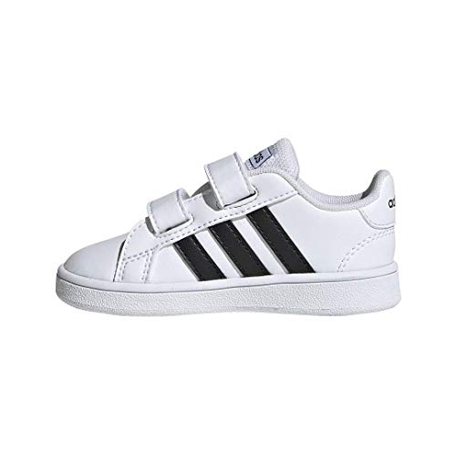 adidas Baby Grand Court Sneaker, Black/White, 6.5K M US Toddler