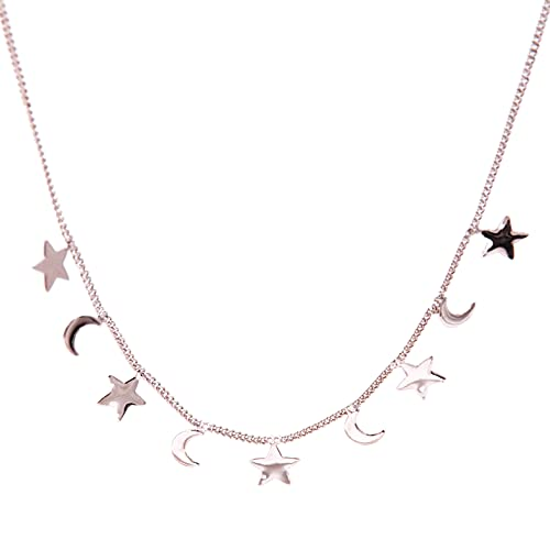 NICANDRA Silver Chain Necklace with Star and Moon - Hypoallergenic Stainless - Summer Woman - Adjustable from 42 To 48 Cm