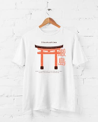 Camiseta Japão Hiroshima - Torii Gate - Itsukushima - Camisa Divertida e Engraçada (Branco, M)