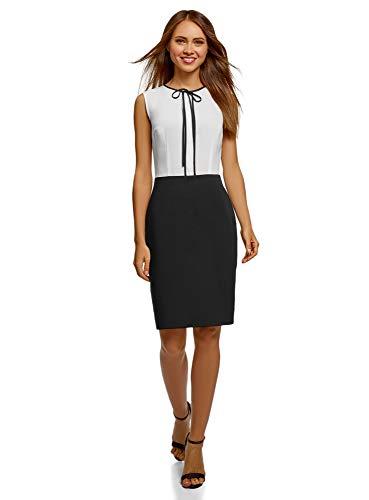 oodji Ultra Damen Kombiniertes Kleid mit Schleife, Weiß, DE 32 / EU 34 / XXS
