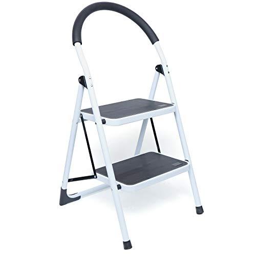 Scaletta antiscivolo pieghevole 2 gradini fino a 150 kg scala pieghevole 84 x 49 x 47 cm – bianco per garage, cucina, cantina o ripostiglio