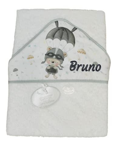 Toalla Capa de baño Bebe Personalizada con nombre bordado Danielstore