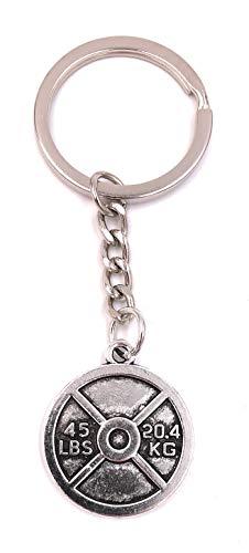 H-Customs 45 LBS Gewicht Training Hantel Silber Schlüsselanhänger Anhänger aus Metall