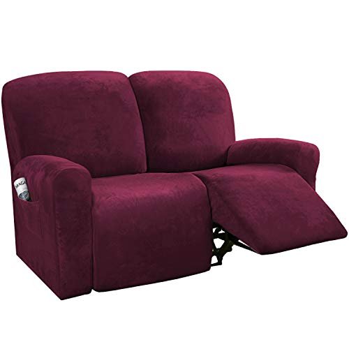 H.VERSAILTEX 6-Pieces Recliner Loveseat Covers Velvet Stretch Reclining Couch Covers for 2 Cushion Sofa Slipcovers Furniture Covers Form Fit Customized Style Thick Soft Washable(Medium, Burgundy)