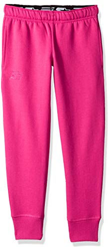 Starter Girls' Jogger Sweatpants with Pockets, Amazon Exclusive, Power Pink with Embroidered Logo, XL (14/16)