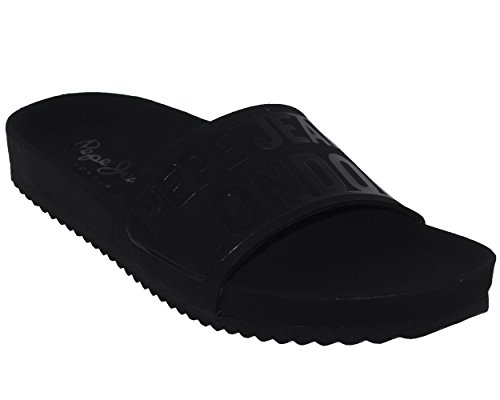 Pepe Jeans - Organische Koninklijke Blok Zwarte Tap Schoenen Muilezels
