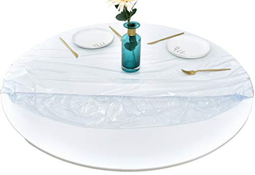 Rally Home Goods Indoor Outdoor Heavy Duty Premium Clear Transparent Round Fitted Vinyl Tablecloth, Elastic Edge, Waterproof Wipeable, Fine Table Plastic Protector of 57-65 Inch Diam (60'')