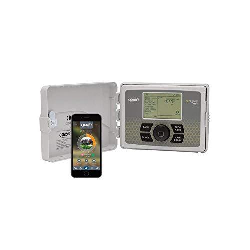 Orbit 94550 Programador WiFi 12 Estaciones con Tapa B-Hyve-Control Desde el teléfono Mediante app-12 Zonas de riego, Gris