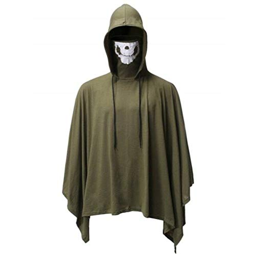 Halloween Dress Up - Heren Mode Schedel Masker Mantel Hooded Kostuum Jurk Effen Kleur Nieuwigheid Halloween Mantel Tops