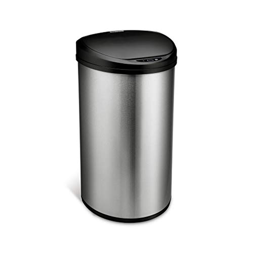 Ninestars DZT-50-29 Motion Sensor Trash Can, Large, Silver