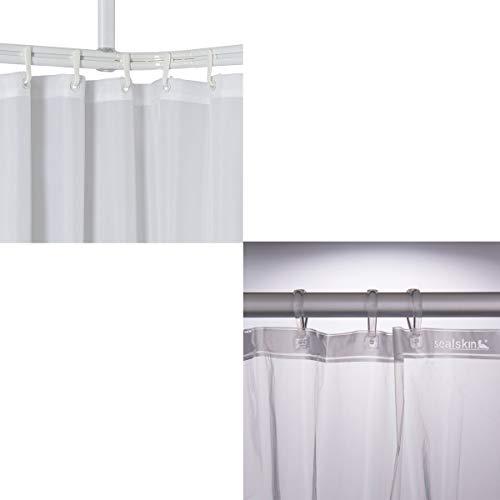 Sealskin Komplett Set Easy Roll Duschvorhangstange, Farbe: Chrom-matt, Duschvorhanghalterung zur individuellen Montage auf Maß, Aluminium + Duschvorhang Clear, transparent, B x H: 180 x 200 cm