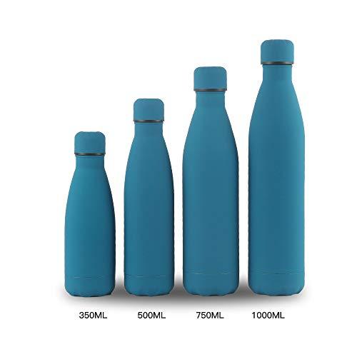 Xiaobing Taza de Doble Capa para Exteriores Botella de Deportes de Acero Inoxidable 304 Taza Termo de Pintura de Goma-Azul oscuro-1L-G356