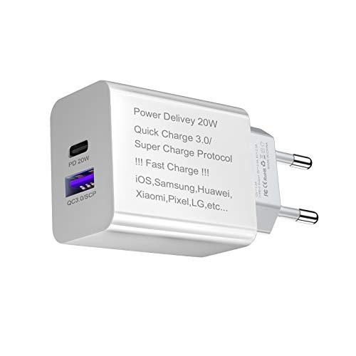IVS COMPUTER SOLUTIONS Adaptador de Corriente USB-c de 20w - Enchufe USB Multiple - Cargador Rápido Tipo c Compatible con iPhone 12 - Cargador 20w Tipo c - Cargador Universal Movil Type c (Blanco)