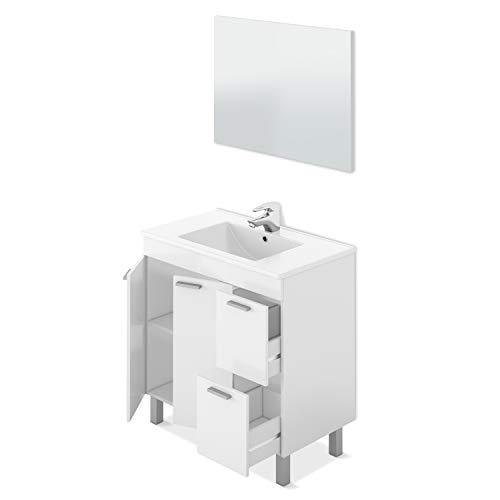 ARKITMOBEL Mueble de Baño con 2 Puertas 2 Cajones y Espejo, Modulo Baño, Modelo Aktiva, Acabado en Blanco Brillo, Medidas: 80 cm (Ancho) x 80 cm (Alto) x 45 cm (Fondo)
