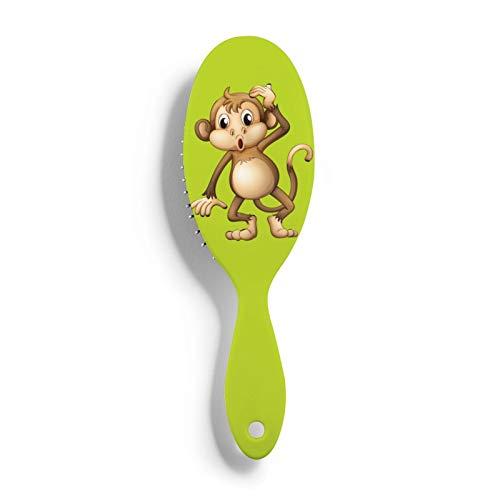 Lindo mono cepillo de pelo masaje cuero cabelludo cepillo de pelo de plástico cepillo desenredante peine para todo tipo de cabello - para mujeres, hombres, cabello húmedo y seco