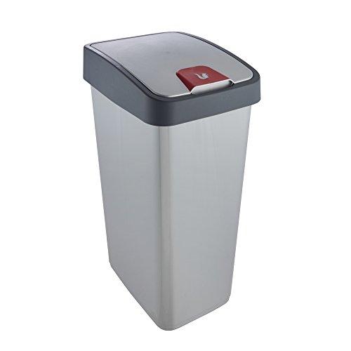 keeeper Premium Abfallbehälter mit Flip-Deckel, Soft Touch, 45 l, Magne, Silber