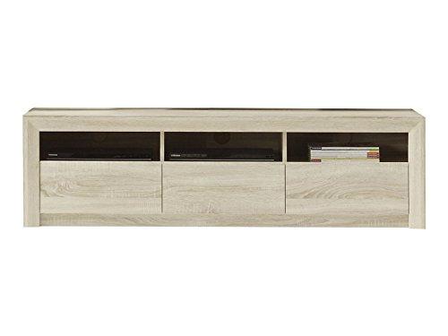 trendteam Wohnzimmer Lowboard Fernsehschrank Fernsehtisch Sevilla, 164 x 46 x 48 cm in Eiche Sägerau Hell Dekor mit drei offenen Fächer und drei Schubkästen
