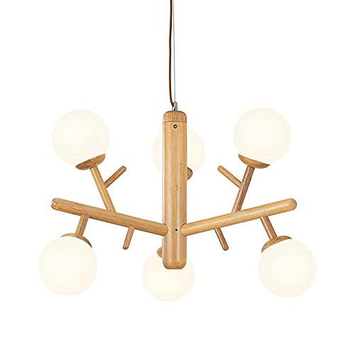 WEM Lámpara de araña simple moderna, lámpara colgante de madera, pantalla de vidrio blanco, accesorios de iluminación colgante E27 Pantalla de vidrio blanco para comedor, sala de estar, dormitorio, c