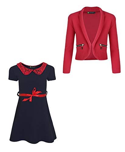 LOTMART Mädchen 2 Stück: Kleid mit Spitzenkragen und Blazer mit Reißverschlusstasche Gr. 3-4 Jahre, Marineblau