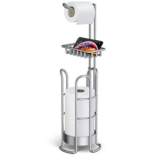 Homemaxs Toilettenpapierhalter Ständer [2021 Upgrade], Badezimmer Taschentuchhalter Freistehender Toilettenpapierrollenhalter mit Ablage für Feuchttücher, Handy, Öffnung Design Taschentuchhalter