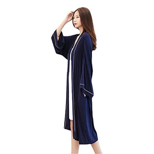 GHYUB Albornoz De Microfibra,Batas De Estar En Casa De Súper Suave Camisón Fino Albornoz Femenino De Manga Larga De Longitud Media Pijamas De Kimono De Primavera Y Otoño (Color : Blue, Size : M)