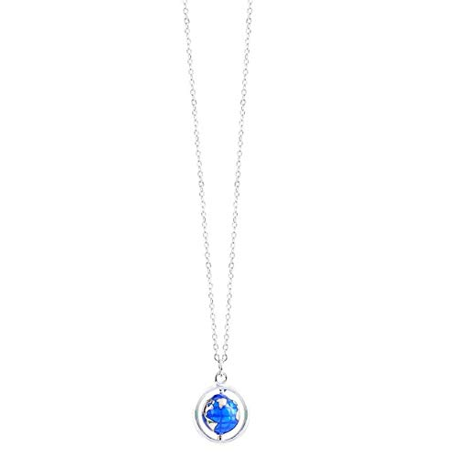BJGCWY Blue Drip Globe Art Creative 925 Sterling Silver Clavicle Chain Female Necklace