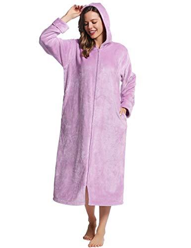 Joyaria Damen Bademantel Lang Flauschig Fleece Mit Reißverschluss Und Kapuze (Violett,Größe M)