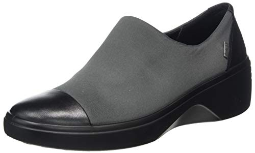 ECCO womens Soft 7 Wedge Gore-tex Slip on Loafer, Black/Magnet, 10-10.5 US
